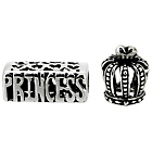 more details on Miss Glitter Sterling Silver Kids Crown and Princess Charms.