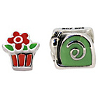 more details on Sterling Silver Kids Enamel Garden Pot Charms - Set of 2.