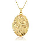 more details on 9ct Gold Engraved Oval Locket Pendant.