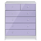 more details on New Malibu Gloss 4+2 Drawer Chest - Lilac.