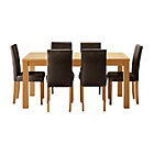 more details on HOME Hemsley Extendable Dining Table & 6 Chairs - Chocolate.