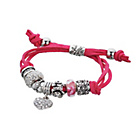 more details on Dark Pink Leather Crystal Charm Bracelet.