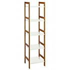 more details on Habitat Drew 5 Shelf Bookcase - White and Bamboo