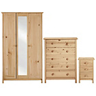 more details on New Scandinavia 3 Piece 3 Door Wardrobe Package - Pine.