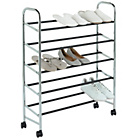 more details on 5 Tier Rolling Shoe Rack - Steel.
