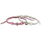 more details on Miss Glitter S.Silver Kids Bee Charm Shambala Bracelets - 2.