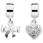 more details on Miss Glitter Sterling Silver Kids Heart and Bow Drop Charms.