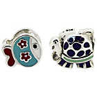 more details on Miss Glitter S.Silver Kids Enamel Fish and Turtle Charms.