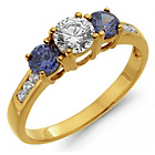 more details on 18ct Gold Plated Sterling Silver Blue and White CZ Ring.