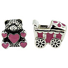 more details on Sterling Silver Kids Enamel Buggy and Teddy Bear Charms.