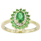 more details on 9ct Gold Emerald and Diamond Ring - T.