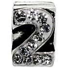 more details on Miss Glitter Sterling Silver Kids Stone Set Number Charm - 2