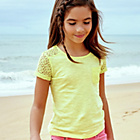 more details on Cherokee Girls' Lemon Lace Pocket Detail T‑Shirt.