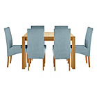 more details on Heart of House Clevedon Ext Table &6 Duck Egg Skirted Chairs