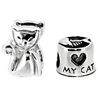 more details on Miss Glitter Sterling Silver Kids Cat Charms - Set of 2.