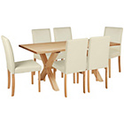 more details on Halfshire Pine Dining Table & 6 Cream Chairs.