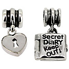 more details on Miss Glitter Sterling Silver Kids Lock and Diary Charms.