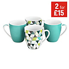 more details on ColourMatch Set of 4 Mugs - Geo.