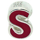 more details on Miss Glitter Sterling Silver Kids Enamel Letter Charm - S.