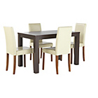 more details on HOME Pemberton Walnut Veneer Dining Table & 4 Chairs - Cream