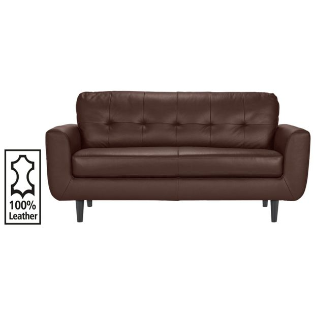 Buy hygena cadiz 3 seater leather sofa chocolate at for Leather sofa 7 seater