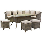 more details on Ratten Effect 8 Seater Corner Sofa, Dining Table and Stools.