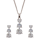 more details on Platinum Plated Silver 3ct Look CZ Jewellery Set.