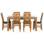 more details on HOME Hemsley Extendable Dining Table and 6 Paris Chairs.