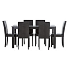 more details on New Elmdon Black Dining Table & 6 Black Chairs.