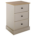 more details on Collection Kensington 3 Drw Bedside Chest-Putty / Oak Effect