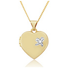 more details on 9ct Gold Diamond Set Kiss Heart Locket Pendant.