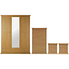 more details on Canterbury 4 Piece Mirrored Wardrobe Package - Oak Effect.