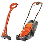 more details on Flymo Corded 1000W Lawnmower and 230W Grass Trimmer.