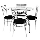 more details on Lusi Glass Dining Table and 4 Black Chairs.