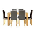 more details on Pemberton Oak Effect Dining Table & 6 Black Chairs.