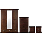 more details on Canterbury 4 Piece Mirrored Wardrobe Package - Walnut Effect