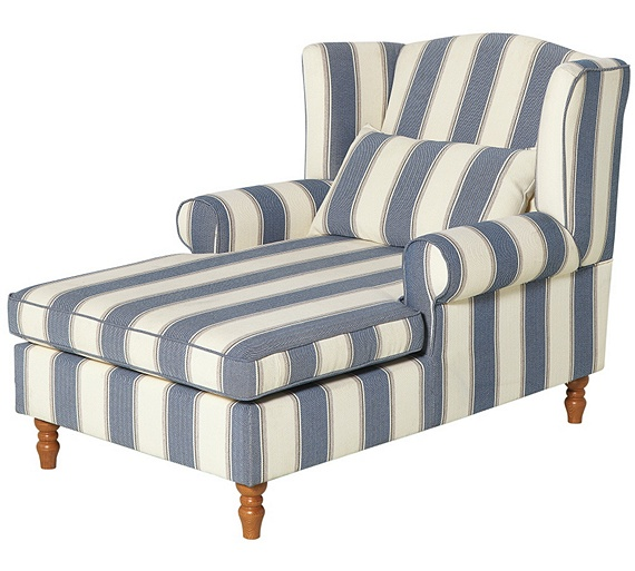 Buy heart of house padstow fabric chaise longue naval for Argos chaise longue