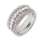 more details on Sterling Silver Pink Cubic Zirconia 3 Stacker Ring.