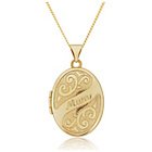 more details on 9ct Gold Engraved Mum Oval Locket Pendant.