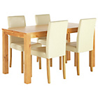 more details on Newton Oak Stain Dining Table & 4 Cream Chairs.