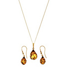 more details on 9ct Gold Plated Sil Amber Teardrop Pendant and Earrings Set.