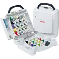 Singer Portable Sewing Kit Box Chest with Threads Tape (White)
