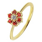 more details on 14ct Gold Plated Sterling Silver Garnet/White CZ Flower Ring