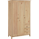 more details on New Scandinavia 3 Door 3 Drawer Wardrobe - Pine.