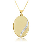 more details on 9ct Gold Wave Diamond Set Oval Locket Pendant.