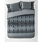 more details on Silver and Black Damask Flock Bedding Set - Kingsize.
