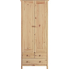 more details on New Scandinavia 2 Door 3 Drawer Wardrobe - Pine.
