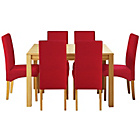 more details on Heart of House Clevedon Ext Table & 6 Red Skirted Chairs.