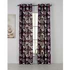 more details on Amble Leaf Unlined Eyelet Curtains - 117x137cm - Plum.