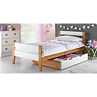 more details on Two Tone Wooden Single Bed With Drawer - White and Pine.